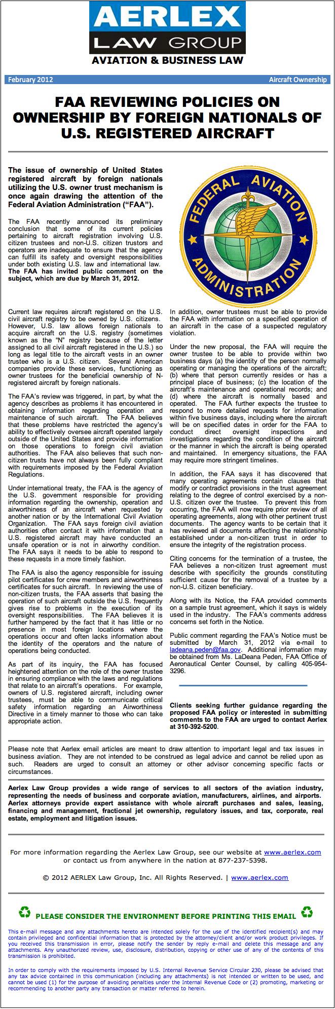 Aerlex Law Group Newsletter - February 2012