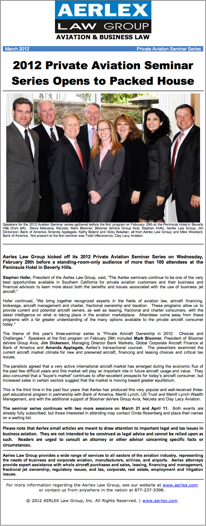 Aerlex Law Group Newsletter - March 2012